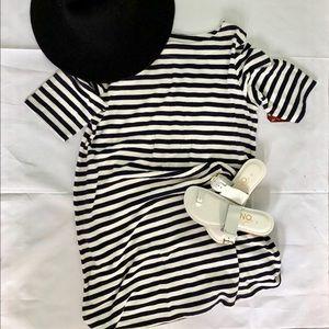 FADED GLORY Boatneck blue & white stripe dress
